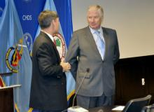 Chile's new Defense Minister Jaime Ravinet (right) discusses security issues with CHDS Director, Dr. Richard D. Downie
