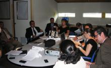 CAEE Role Players Simulate Meeting of the Salvadorean President and her cabinet, preparing a coordinated plan of action in response to the unfolding crisis