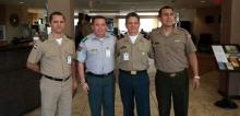 appearing from left to right: COL Carlos Carillo Castillo (Dominican Republic), COL Willams Kaliman Romero (Bolivia), COL Federico San Juan Rosales (Mexico), and COL Aldo Dominguez Peralta (Peru)